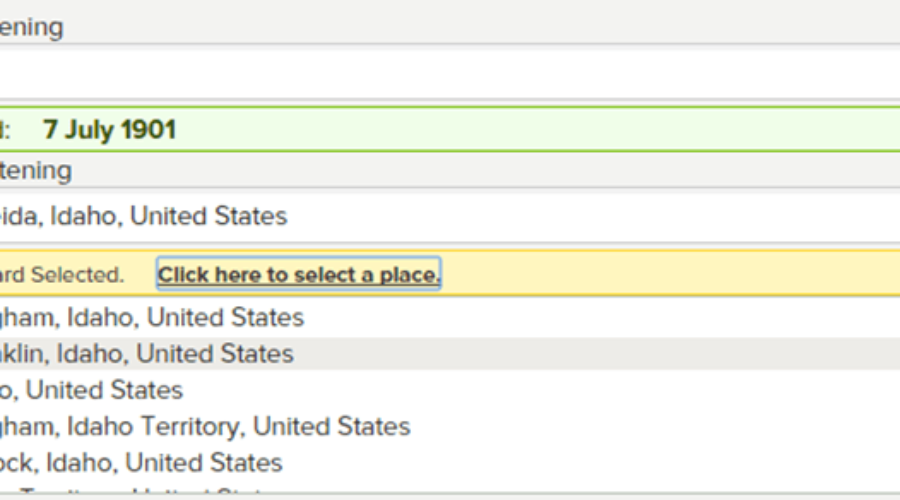 Adding Historical Place Names in FamilySearch