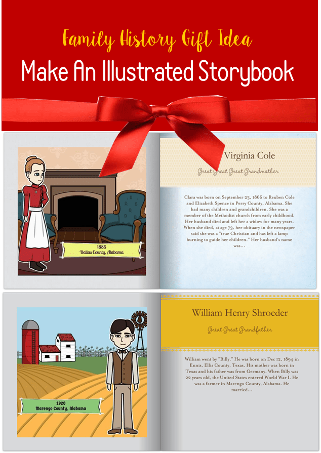 Make an illustrated storybook of ancestors family locket Build storybook