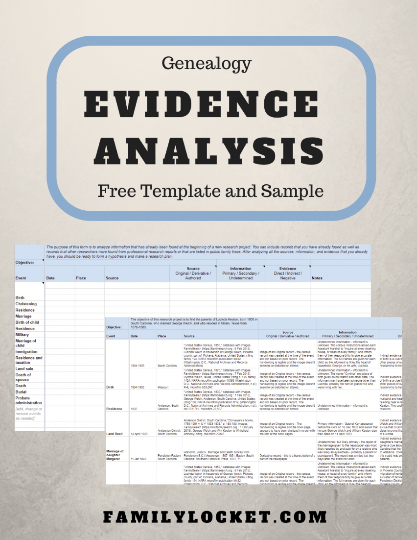 genealogy evidence analysis free template and lucinda keaton