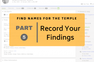 Find Names for the Temple Part 5: Record Your Findings