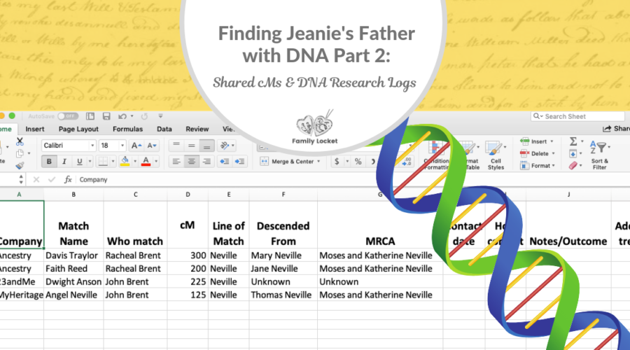 Finding Jeanie's Father with DNA part 2: Shared centiMorgans and DNA Research Logs