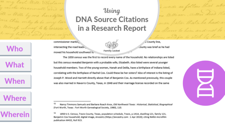 Using DNA Source Citations in a Research Report